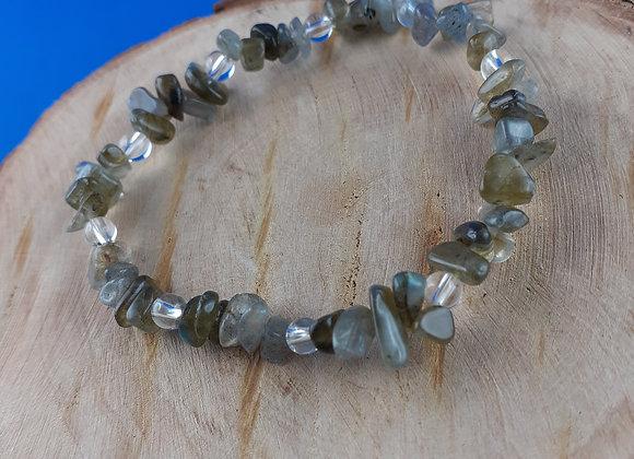 Bracelet labradorite et cristal de roche