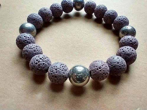 Mauve Lava Pyrite Bracelet