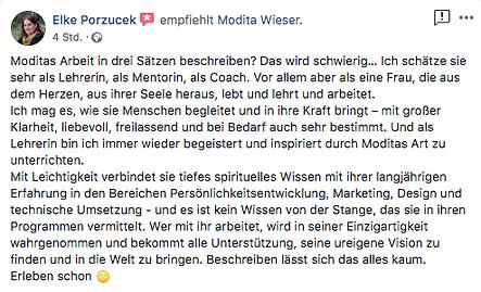 FB Testimonial Bewertung - Elke Porzucek