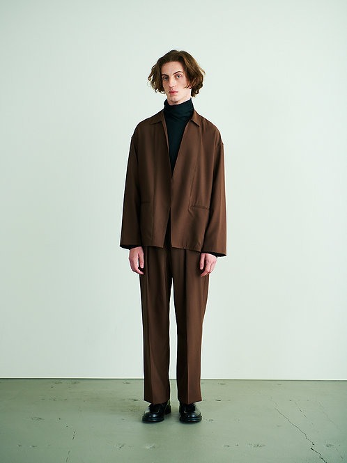 FRONT TUCK BELTED WIDE TROUSERS