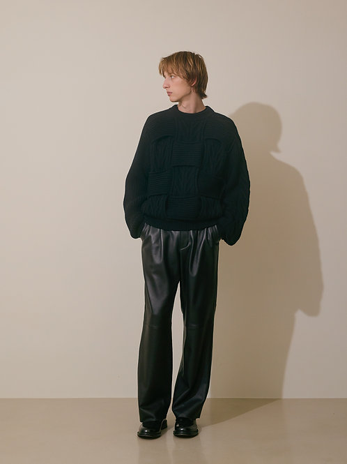 BELTED LEATHER 2TUCK TROUSERS
