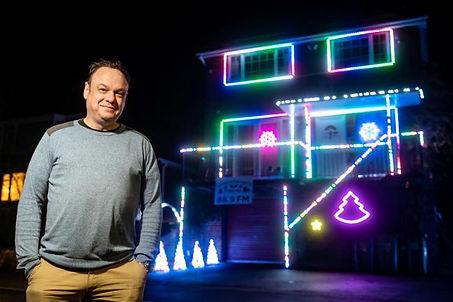 Nick Wright and his Christmas lights cre