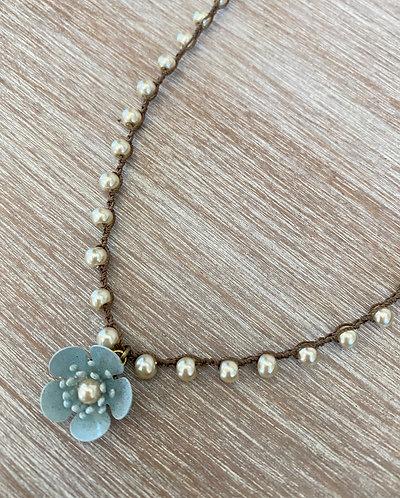 Cornflower Blue Buttercup Necklace