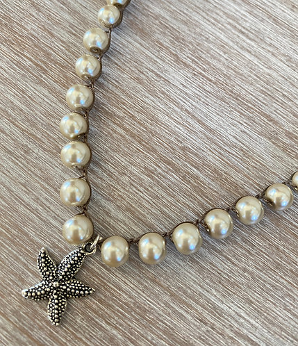 Starfish Glass Pearl Strand Necklace