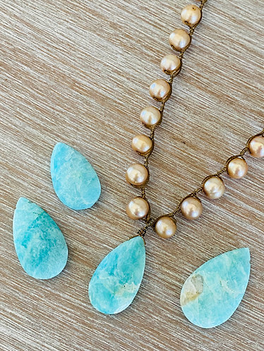 Faceted Amazonite with Freshwater Pearls