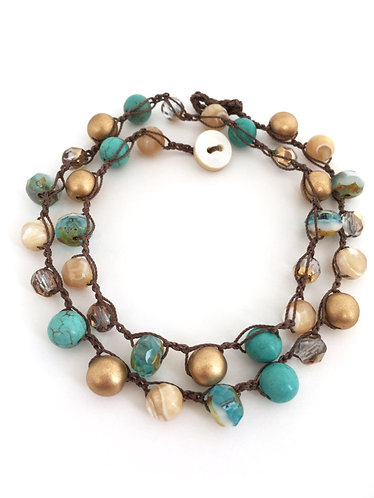 Turquoise, Wrap Bracelet, Necklace, Artisan made, boho, Twist Style, Beach jewelry, Crocheted jewelry
