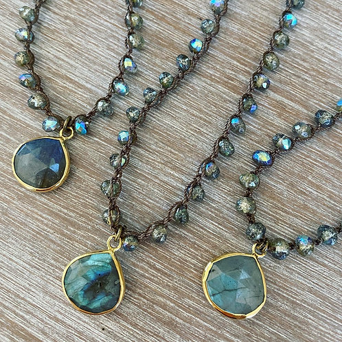 Labradorite Cloudy Denim Drop Necklace