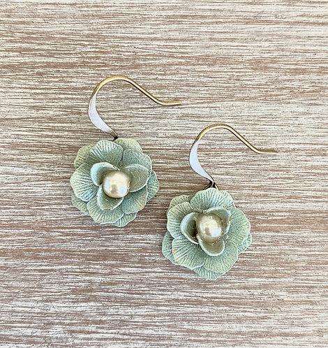 Minty Flower Drop Earrings