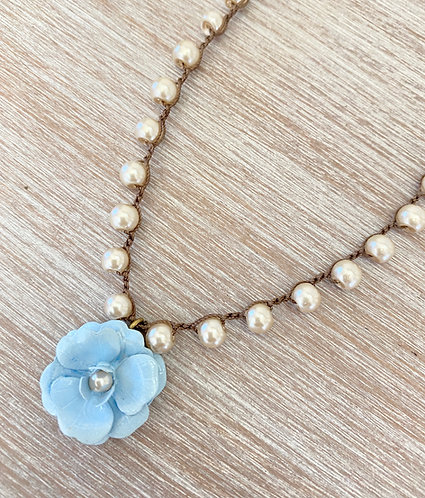 Hand Painted Flower Necklace In Cornflower Blue