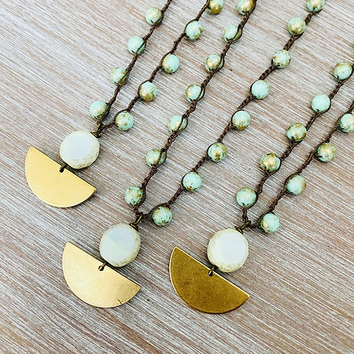 Golden Mint and Cream Half Moon Necklace