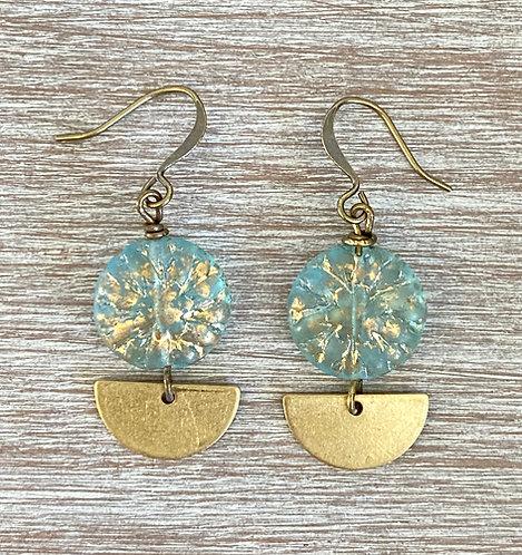 Gold Water Deco Drop Earrings