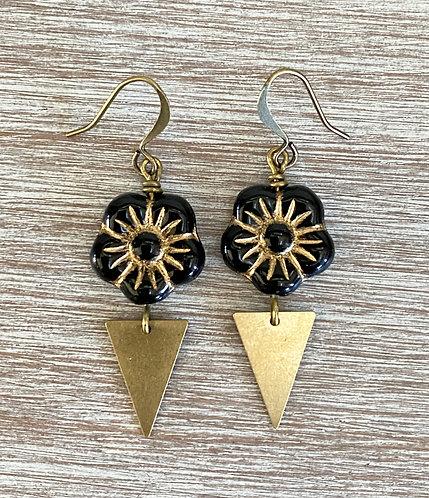 Black Flower Deco Drop Earrings