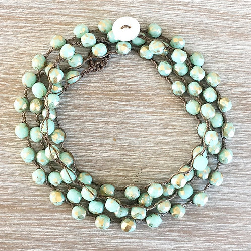 Metallic Mint and Gold Crystal Strand