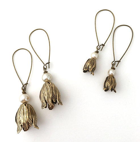 Petal and Pearl Earrings, Bridesmaid, Flower Earrings,Bridal Earrings, Boho, Vintage Style, Twist Style, Maryellen Kim