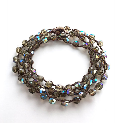 wrap bracelet, necklace, stacking bracelet, handmade, crocheted jewelry, twist style, maryellen kim