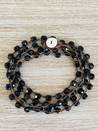 Long Black Crystal Strand For Wrapping and Layering