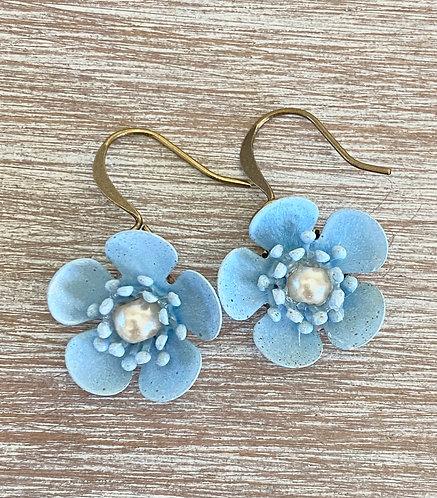 Cornflower Blue Buttercup Earrings