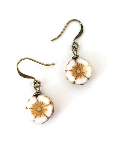 Beach Jewelry, Flower Earrings, Sand color, Twist Style, Maryellen Kim