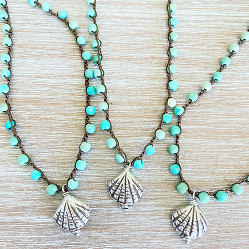 Sterling Shell Drop Necklace With Turquoise Stones