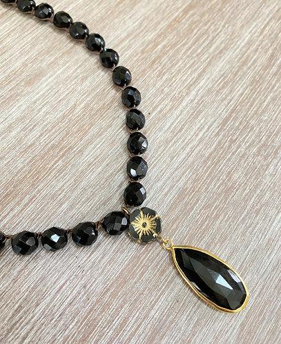 Black Onyx Night Flower Necklace
