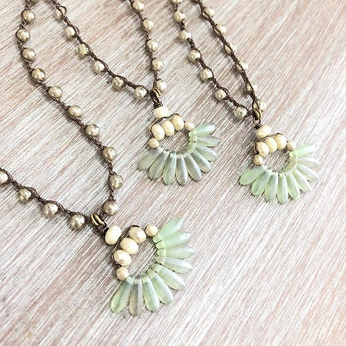 Art Deco Fan Long Necklace
