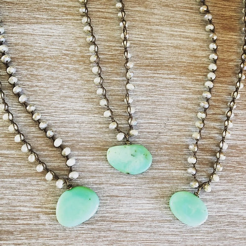 Opal Crystals and Chrysoprase Pendant