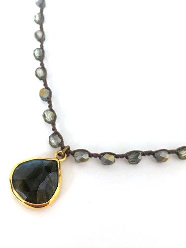 Labradorite Cloudy Denim Drop Necklace