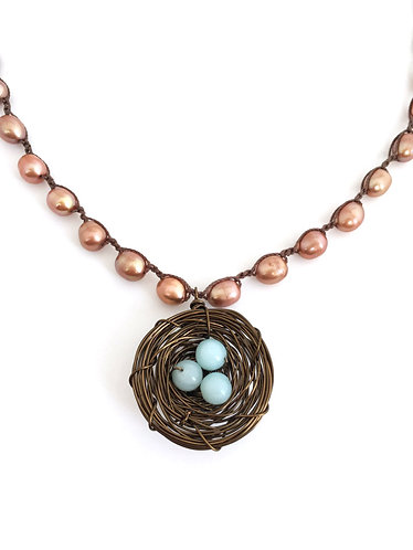 Nest necklace, handcrafted, nest pendant, new mother, artisan made, crocheted jewelry, twist style