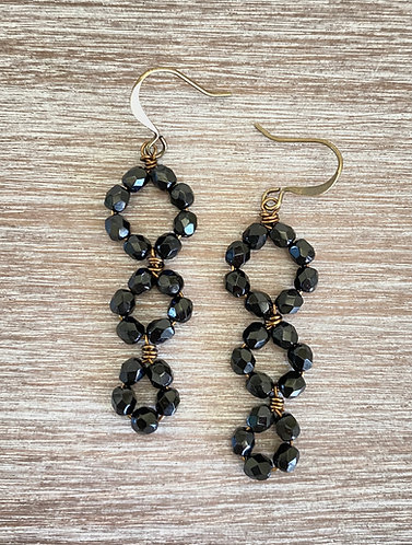 Triple Loop Earrings in Jet Black