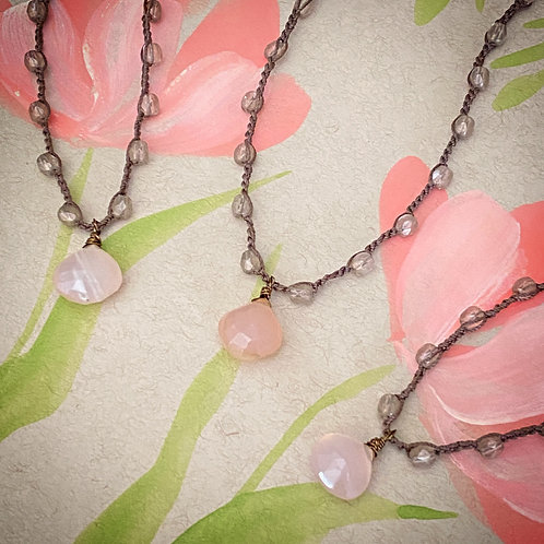 Faceted Chalcedony Blush Drop Necklace