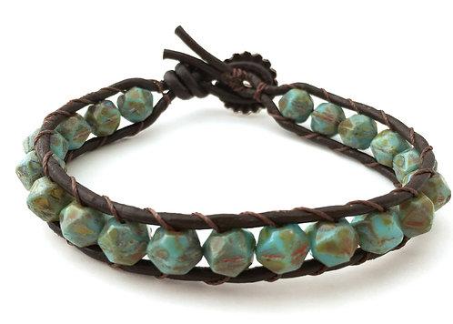 Leather bracelet, beach jewelry, boho jewelry, twist style, ocean style, artisan made