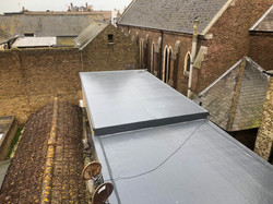 Rubber roof over deck installation