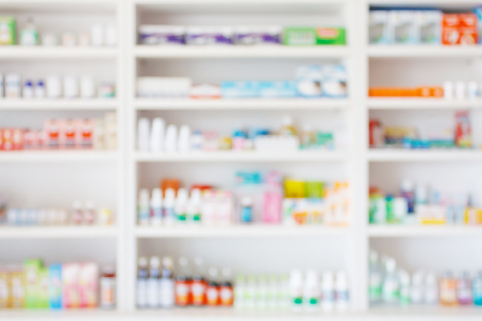 Pharmacy drugstore blur abstract background with medicine and healthcare product on shelve
