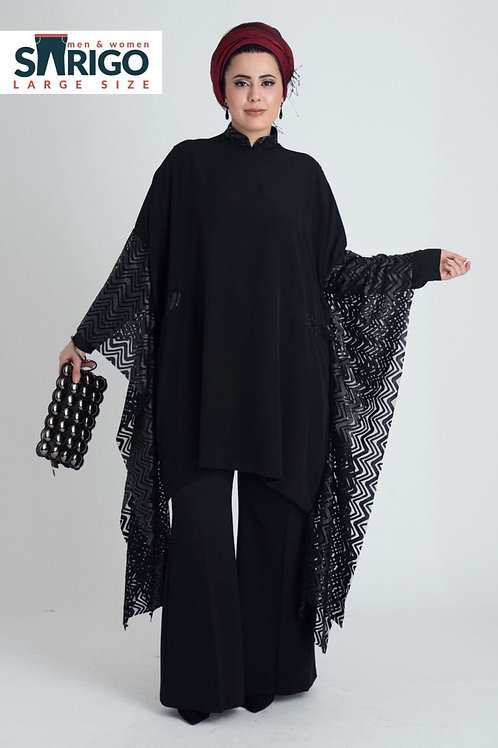 בחולצת נשים אליגאנט עיצוה רשת בשרוול