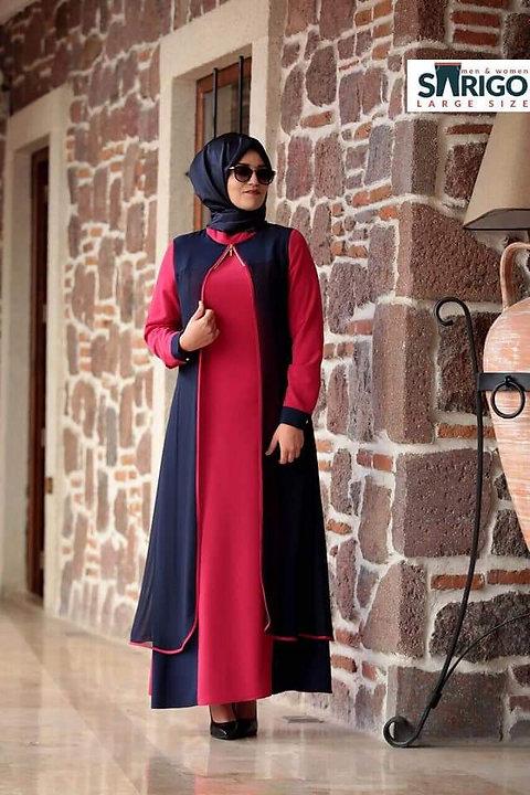 דושדאשה שמלה שתי שכבות שילוב צבעים  מידה גדולה