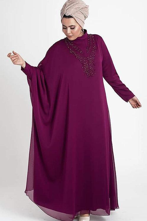 שמלת ערב מעוצבת שילוב שיפון משי