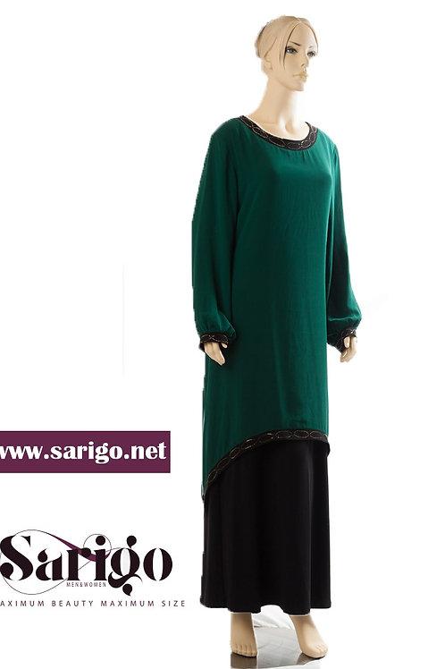 שמלה שיפון שילוב ליקרה עם קישוט עדין