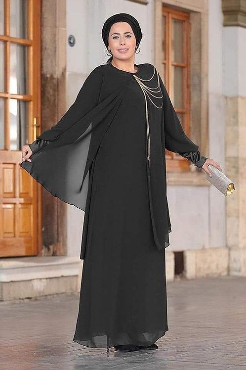 שמלה שיפון עם שרשרת וסף שרוול סטאן
