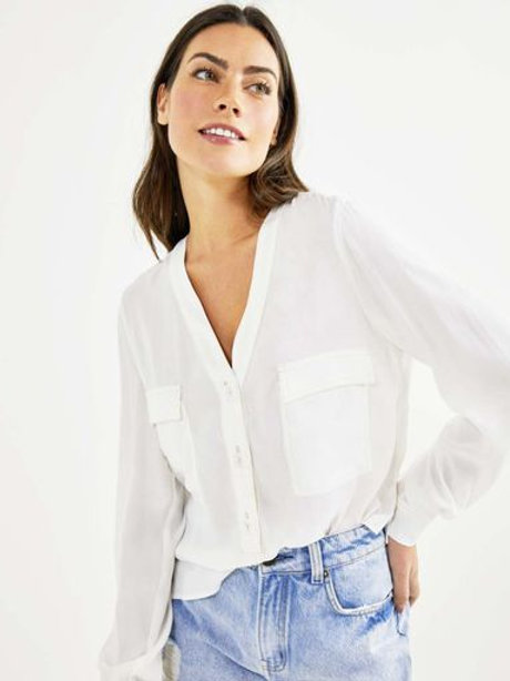 Camisa ampla crepe (off white)