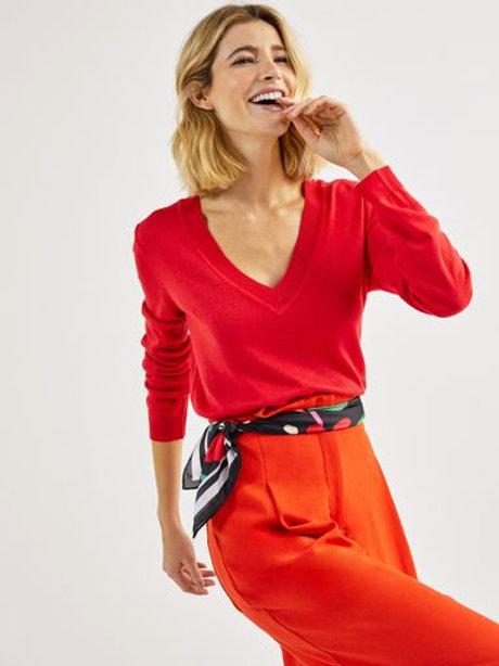 Blusa tricot básico decote V (vermelho)