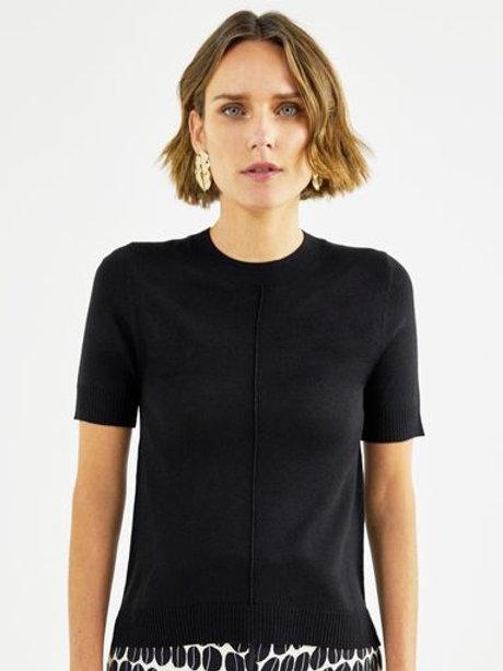 T-shirt tricot básico decote redondo (preta)