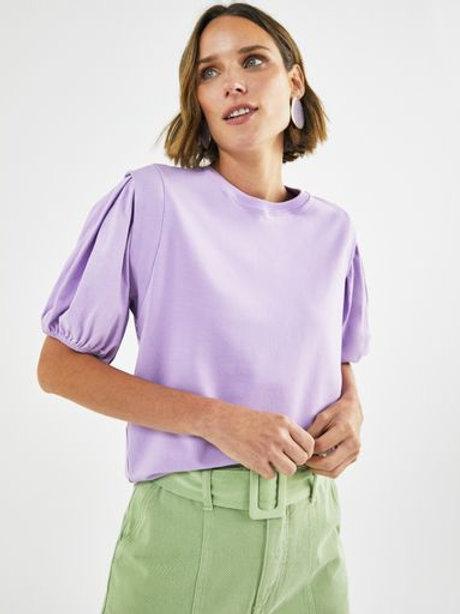 T-shirt manga bufante (lilás)