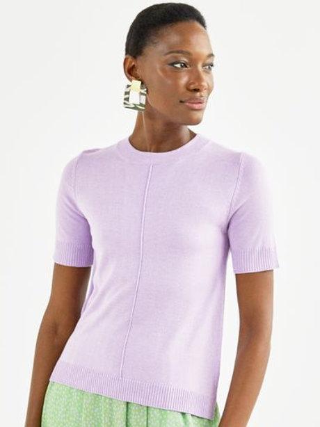 T-shirt tricot básico decote redondo (lilás)