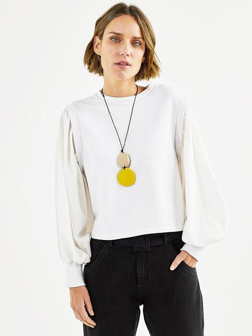Blusa malha manga tricoline (branca)