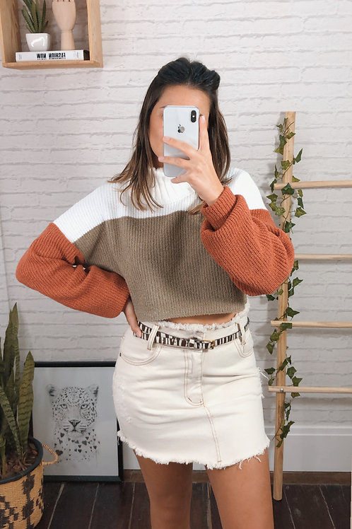 Tricot cropped tricolor