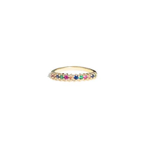 Anel zircônias rainbow (dourado)