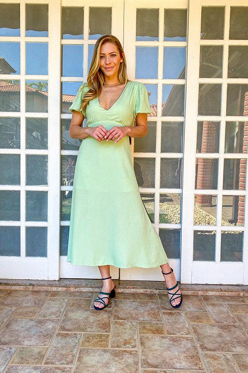 Vestido Palmas (verde menta)