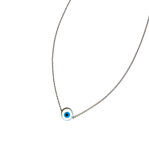Colar olho grego redondo madrepérola (ródio branco)