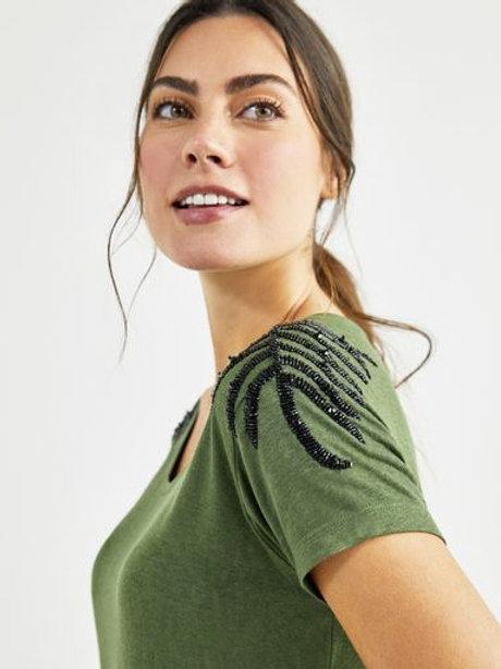 T-shirt bordada tigre (verde)