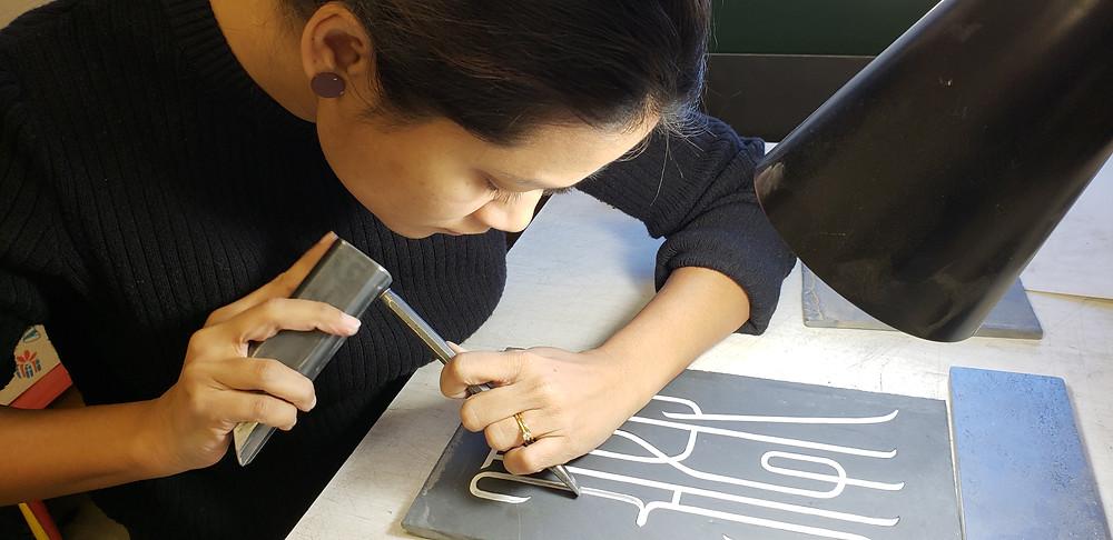 Cutting the design,